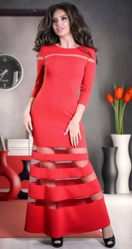 Изысканное красное вечернее платье макси