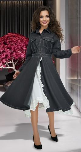 Джинсовое платье с кружевом № 4174