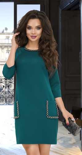 Свободное платье с жемчугом  № 3834