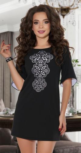 Платье А-силуэта  чёрное № 30653