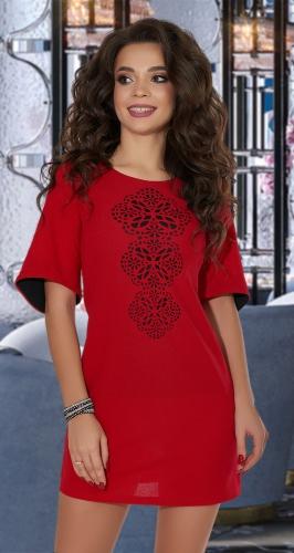 Красное платье А-силуэта № 30653