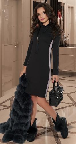 Тёплое платье-гольф № 3846