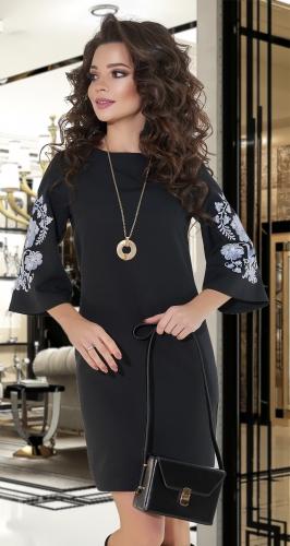 Свободное платье с вышивкой № 4200