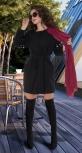 Черное пальто с жемчугом № 35453