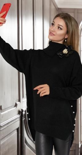 Удлинённый свитер с жемчугом № V90104