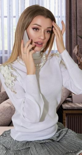 Нарядный белый свитерок № V90099