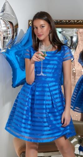 Нарядное платье № 3070 ярко синее
