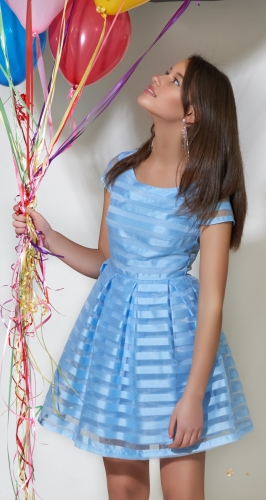 Нарядное платье № 3070 голубое