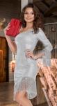 Асимметричное сияющее платье с бахромой № 4127