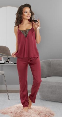 Шелковый комплект со штанишками № 4086 ,бордовый