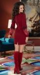 Элегантное платье с красивыми рукавами № 1490,бордовое