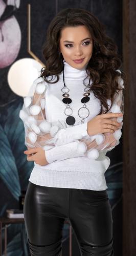 Нарядный свитерок с высокой стойкой № 90097