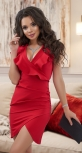 Красное вечернее платье с глубоким декольте № 3422
