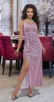 Мерцающее вечернее платье с высоким разрезом № 1816