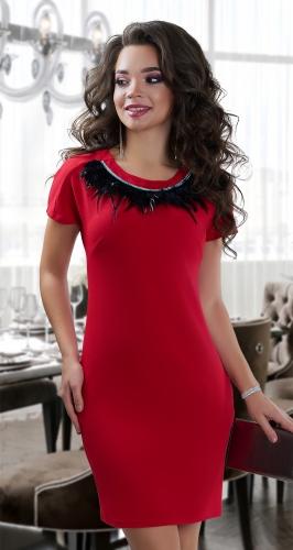Красивое  платье с перьями № 3875 ,красное