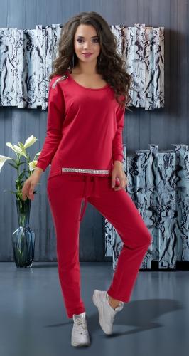 Комфортный костюм № 4047, красный