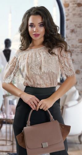 Гипюровая блузка длиной чуть ниже талии № 4009
