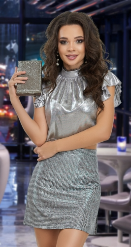 Клубная юбка мини с разрезом № 4162