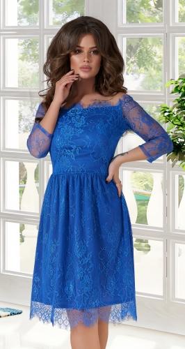 """Нарядное платье из  """" Французского кружева """" № 3937,ярко синее"""