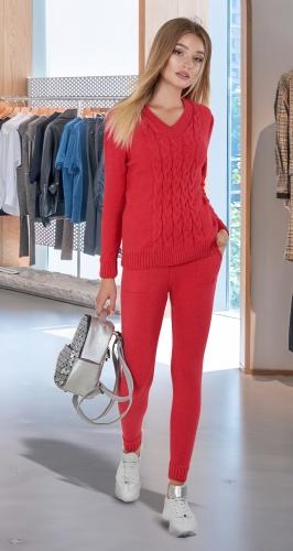 Тёплый вязанный костюм № V9001 , красный коралл