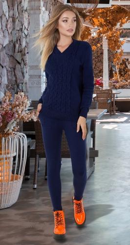Тёплый вязанный костюм № V9001 , синий
