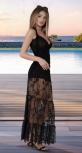 Длинная гипюровая юбка-шорты  с рюшами № 1811 , чёрная
