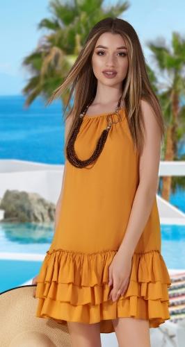 Лёгкое платье с оборками № 3727  , горчичное