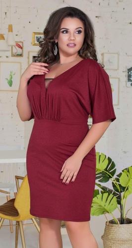 Свободное нарядное платье № 38991 ,бордовое