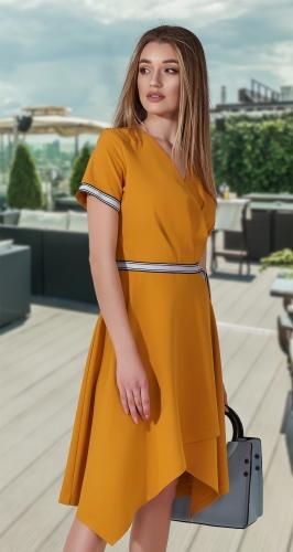 Стильное асимметричное платье № 3980 , горчичное