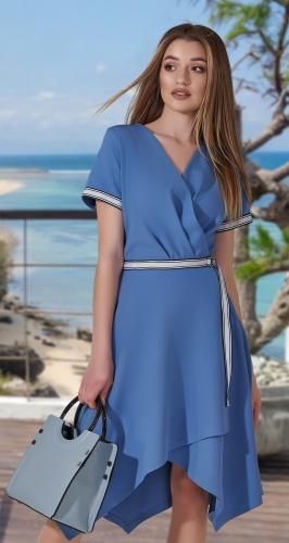 Стильное асимметричное платье № 3980 , голубое
