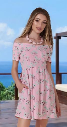 Нежное платье с открытыми плечиками № 3156, розовое