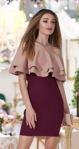 Двухцветное узкое платье с воланами № 1691N