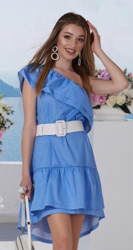 Платье с воланами голубое № 31473