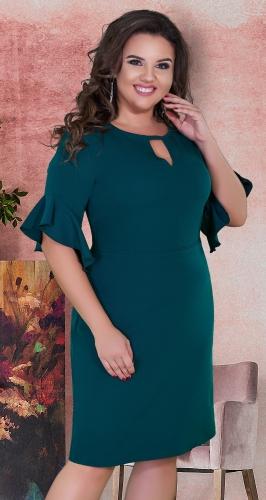 Нежное прямое платье с красивыми рукавами № 39161,изумрудное