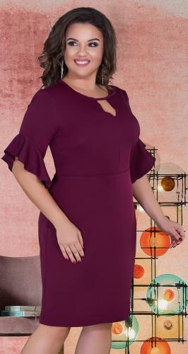 Нежное прямое платье с красивыми рукавами № 39161,марсала
