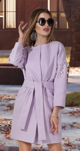 Кашемировое пальто с жемчугом № 35453 , светлая фуксия