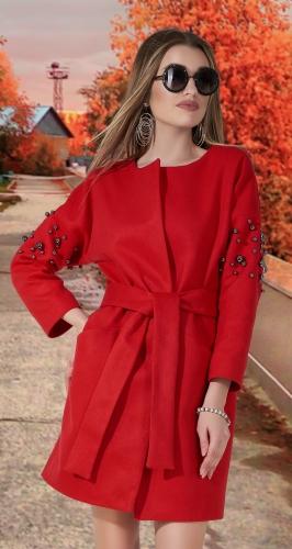Кашемировое пальто с жемчугом № 35453 , красное