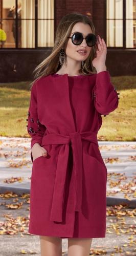 Кашемировое пальто с жемчугом № 35453 , фуксия