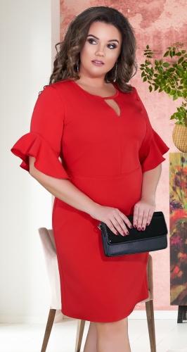 Нежное прямое платье с красивыми рукавами № 39161,красное