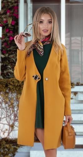 Кашемировое пальто № 4013 , горчичное