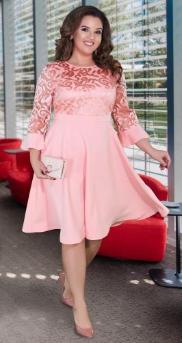 Нарядное расклешённое платье № 39111,пудровое