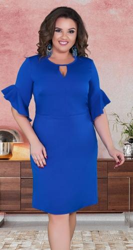 Нежное прямое платье с красивыми рукавами № 39161,ярко синее
