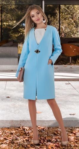 Кашемировое пальто № 4013 , голубое