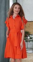 Лёгкое платье-рубашка № 3978, оранжевое