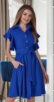 Лёгкое платье-рубашка № 3978, ярко синее