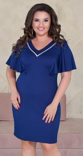 Нарядное  платье с кристаллами ,№ 38891 ,синее