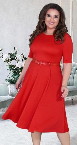 """Красное платье """"миди"""" с расклешённой юбкой и ремешком № 39281"""