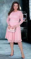 Гипюровое платье с ремешком № 39141,пудровое