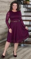 Гипюровое платье с ремешком № 39141,марсала