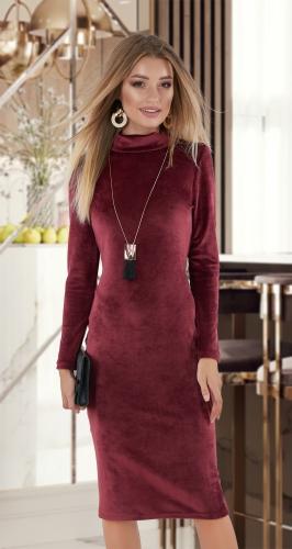 """Велюровое платье """"миди"""" № 13994"""